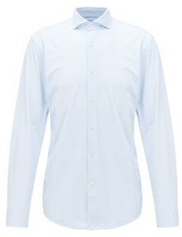 BOSS Patterned slim-fit shirt in performance-stretch Italian fabric