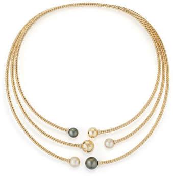 David Yurman Solari Three-Row Pearl & Diamond Open Collar Necklace