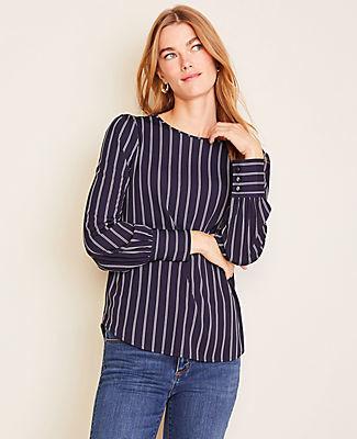 Ann Taylor Petite Striped Matte Jersey Blouse