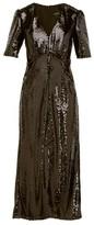 Saloni Eden V-neck Sequinned Dress - Womens - Black