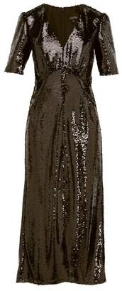 Saloni Eden V Neck Sequinned Dress - Womens - Black