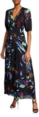 Tanya Taylor Ariela Floral Burnout Long Dress