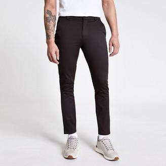 River Island Dark brown skinny chino trousers