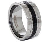 Panvisionary Men's 12mm Natural/ Black Ip Polished/Notched Tungsten Carbide Wedding Band Ring 14