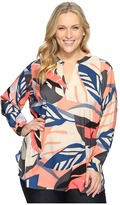 Vince Camuto Specialty Size Plus Size Long Sleeve Modern Tropics V-Neck Tunic