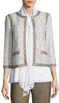 St. John Kira Tweed 3/4-Sleeve Jacket, White/Multi