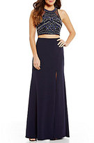 Sequin Hearts High Neck Illusion-Inset Beaded Top Two-Piece Long Dress