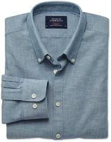 Charles Tyrwhitt Extra Slim Fit Petrol Blue Chambray Cotton Casual Shirt Single Cuff Size Small