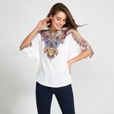 Apricot Multi-Coloured Tribal Necklace Print Cold Shoulder Blouse