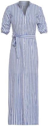 Cliché Reborn Maxi Striped Linen Shirt Dress