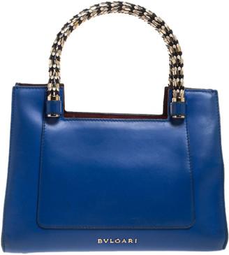 Bvlgari Blue/Burgundy Leather Scaglie Serpenti Tote
