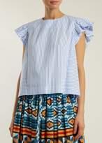 Stella Jean Short Sleeve Shirt In White Azure