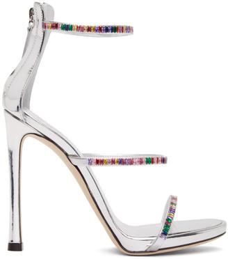 Giuseppe Zanotti Silver Rainbow Triple Strap Heels