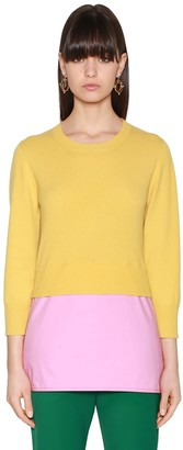 Marni Layered Knit & Poplin Sweater