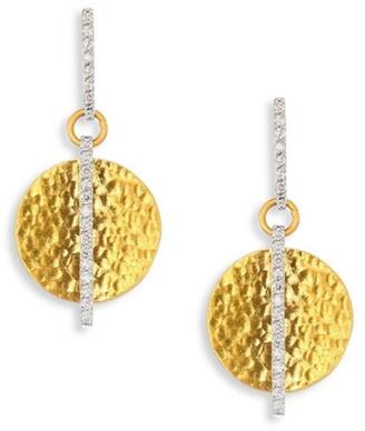 Gurhan Small Lush Diamond, 24K Yellow Gold & 18K White Gold Drop Earrings