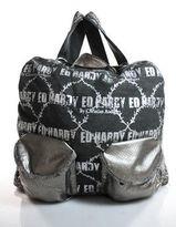 Ed Hardy By Christian Audigier Gray Logo Print Silver Tone Hardware Backpack