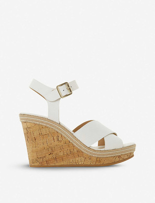 Dune Karllotta leather cork wedge sandals
