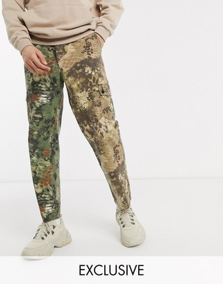 Reclaimed Vintage inspired cargo pant in spliced camo print