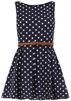 Alice & You Navy polka dot belted tunic