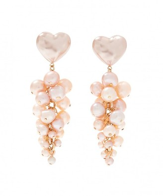 Loeffler Randall Tallulah Heart and Pearl Waterfall Earring in Pearl