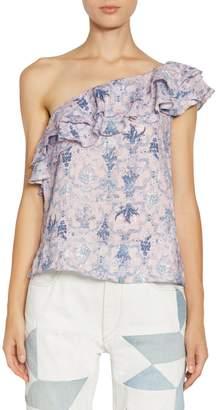 Etoile Isabel Marant Thomy One-Shoulder Ruffle Top