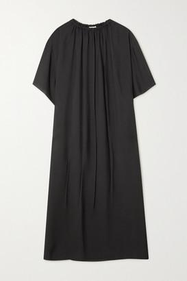 The Row Tobias Gathered Twill Midi Dress - Black
