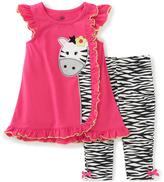 Kids Headquarters Fuchsia & Zebra Ruffle Top & Leggings - Toddler & Girls
