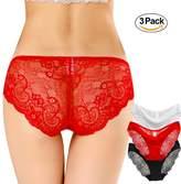Imixshop 3 PACK Women Sexy Silky Lace Panties Low Rise Bikini Lingerie Underwear Briefs
