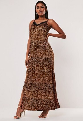 Missguided Tall Brown Leopard Print Lace Insert Satin Maxi Dress