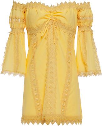 Charo Ruiz Ibiza Campana Off-the-shoulder Crocheted Lace-trimmed Cotton-blend Voile Mini Dress