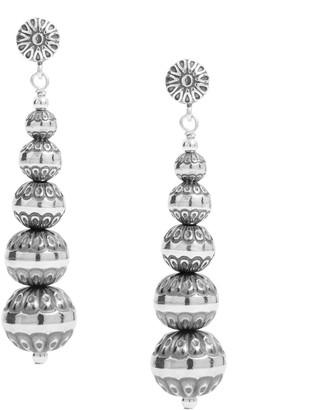 American West Sterling Stamped Bead Drop Earrings