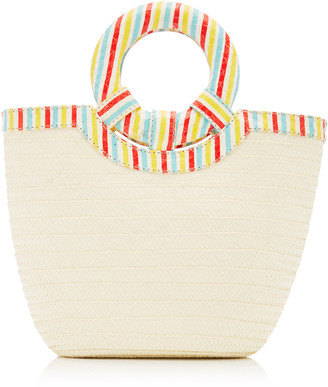 Adriana Castro Striped Watersnake Trimmed Straw Tote