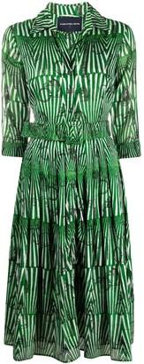 Samantha Sung Stripe-Print Belted Midi Dress