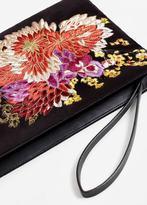 MANGO Flower embroidered velvet clutch