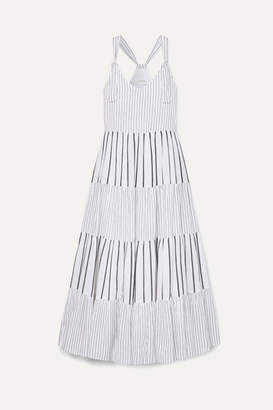 The Great The Glen Picot-trimmed Striped Cotton-poplin Maxi Dress - Blue