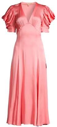 Michael Kors Crushed Satin Puff-Sleeve Midi Dress