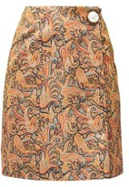 Christopher Kane Paisley-print Satin Mini Skirt - Womens - Brown Print