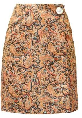 Christopher Kane Paisley-print Satin Mini Skirt - Brown Print
