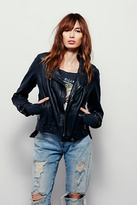 Free People Womens WASHED LEATHER MOTO JKT