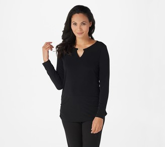 Susan Graver Liquid Knit Tunic with Keyhole Trim