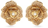Oscar de la Renta Rosette crystal-embellished clip-on earrings