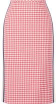 Prada Paneled Houndstooth Wool Pencil Skirt - Pink