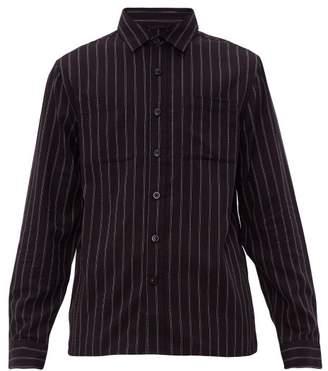 Saturdays NYC Nolan Striped Cotton Blend Shirt - Mens - Black