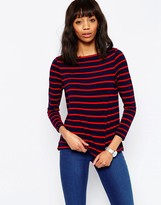 Asos T-Shirt In Stripe With Boat Neck And Longsleeves