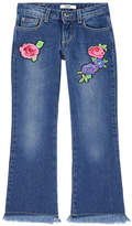 MSGM Girl flare fit embroidered jeans
