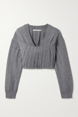 Alexander Wang Cropped Pintucked Knitted Sweater - Dark gray
