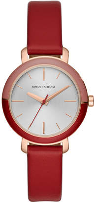 Armani Exchange Women Bette Red Leather Strap Watch 34mm