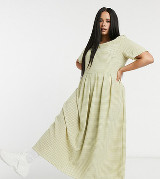 Glamorous Curve maxi smock dress in grid check