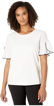 Calvin Klein Short Sleeve Top w/ Piping (Soft White) Women's Clothing