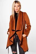 Boohoo Emily Waterfall Belted Wool Coat